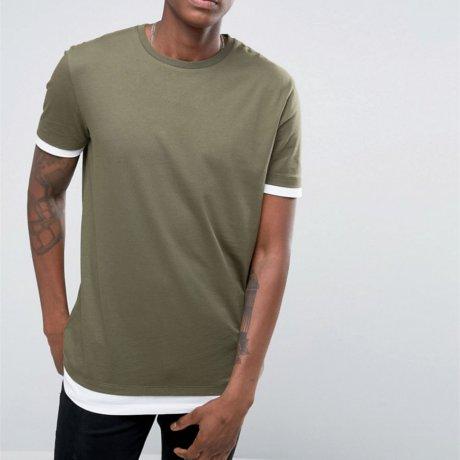 Asos langes Shirt mit Kontrastsaum Grün