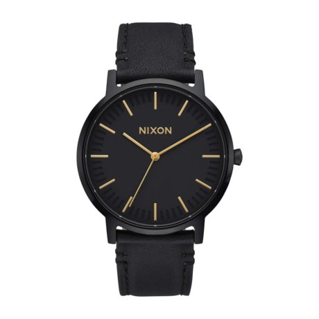 Nixon The Porter Uhr Leather Schwarz Gold
