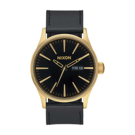 Nixon Uhr The Sentry Leather Schwarz Gold